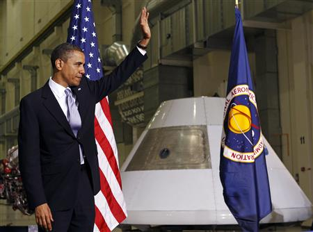 President Barack Obama attends the opening session of the Space Conference at NASA Operations and Checkout Building in Cape Canaveral, Florida, April 15, 2010.