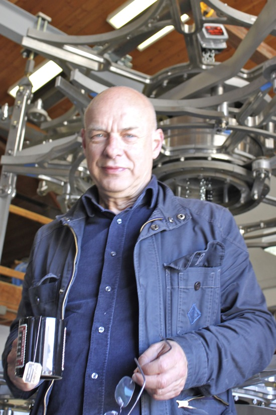 Brian Eno visits the Long Now Clock assembly shop