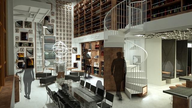 Long Now Salon design: daytime seating view