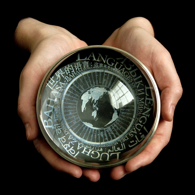 The microetched Rosetta Disk shown inside the Rosetta sphere (photo by Laine Stranahan)