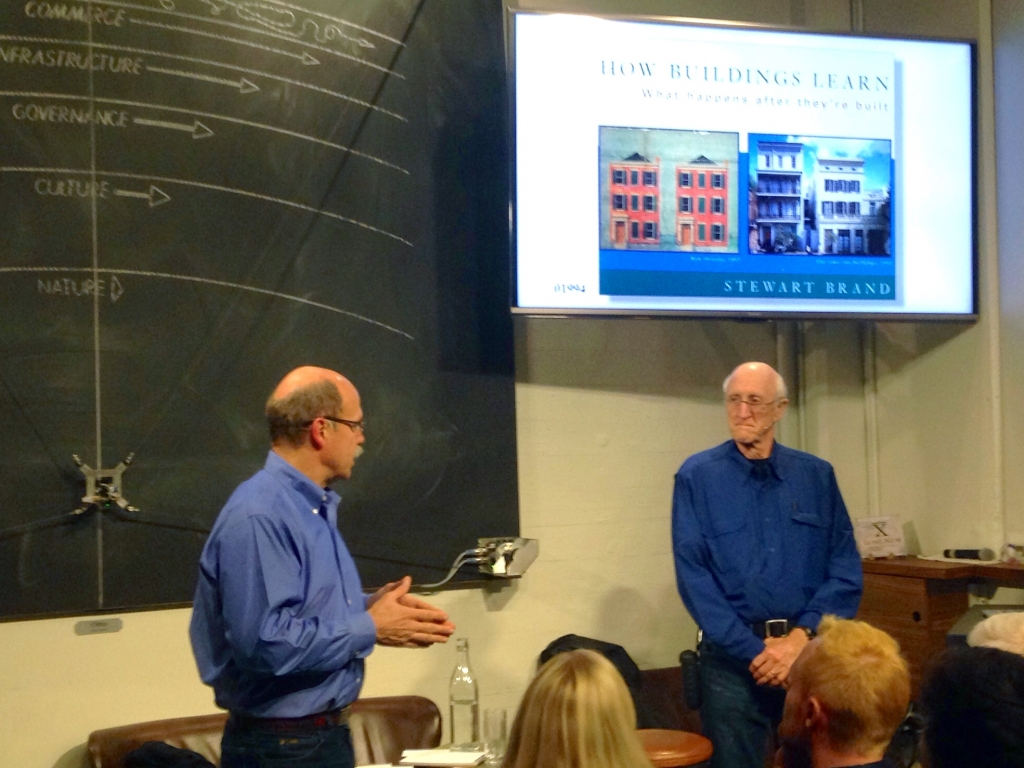 Paul Saffo and Stewart Brand at The Interval, January 02015