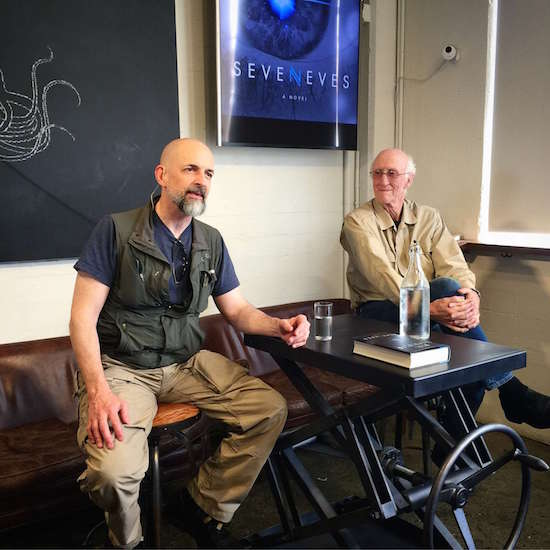 Neal Stephenson and Stewart Brand onstage at The Interval