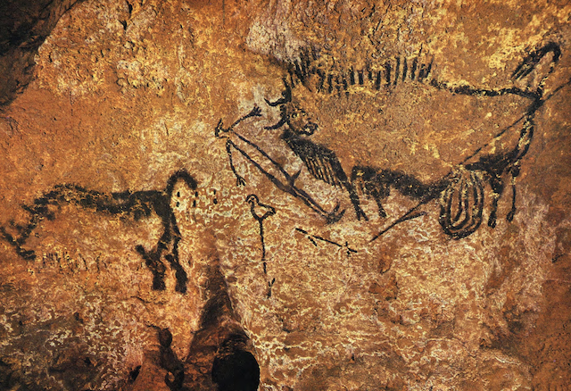 "The ""Shaft Scene"" from the Paleolithic cave paintings in Lascaux, France."