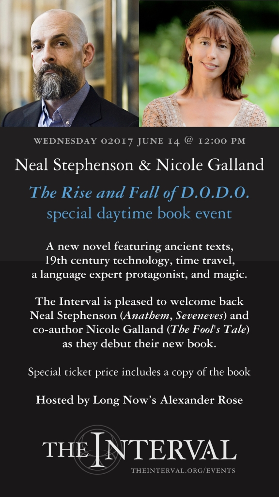Neal Stephenson & Nicole Galland at The Interval, June 14 02017