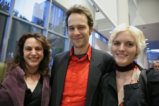 Lori Dorn and Jeffrey & Jillian of Because We Can at the 77 Million Paintings opening in San Francisco, 02007; photo by Scott Beale