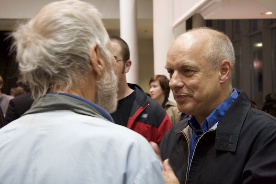 Brian Eno at 77 Million Paintings opening in San Francisco, 02007; photo by Robin Rupe