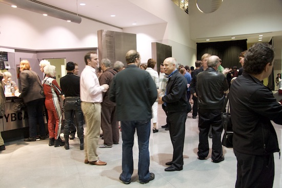 Brian Eno, 77 Million Paintings opening in San Francisco, 02007; photo by Robin Rupe